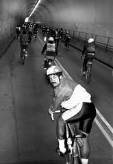 San Francisco, 1985 (Dave Glass . foto) Tags: sanfrancisco broadwaytunnel russianhill northbeach bicyclist bicycle tunnel 1980s nikonl35af kodaktrixfilm 35mmfilm filmphotography
