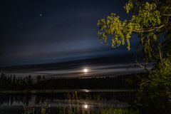 Moon lake (mabuli90) Tags: finland lake night dark moon forest tree water grass autumn fall stars sky