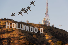 Blue Angels go Hollywood (pbuschmann) Tags: blueangels hollywood hollywoodsign composition losangeles formation usnavy fa18c f18 hornet