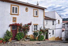 Street in Castelo de Vide (Jocelyn777) Tags: buildings houses facades doorsandwindows flowers plants roses architecture villages towns historictowns cobblestones streets castelodevide alentejo portugal travel sky clouds
