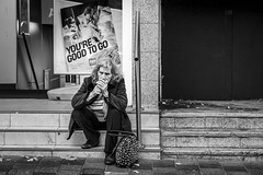Good To Go (Leanne Boulton) Tags: street portrait urban candid streetphotography streetportrait streetlife candidportrait candidstreetphotography old woman face female grit mood emotion expression cigarette smoke steps atmosphere dirty smoking doorway elderly grime smoker filth light detail texture outdoor naturallight negativespace shade juxtaposition depth tone life city people living humanity culture lifestyle scene human society uk blackandwhite bw white black monochrome canon mono scotland blackwhite glasgow 70mm canon5dmkiii ef2470mmf28liiusm