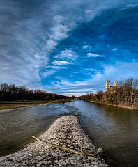 Isar (MAKER Photography) Tags: isar munich münchen blue sky clouds cloud river water trees tree castle tower towers reflection smartphone mobile phone mobilephone oneplus grass