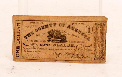 (2) 1862 Augusta County Confederate Currency ($112.00)