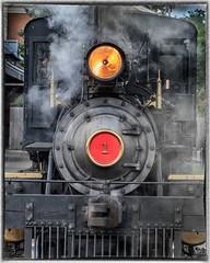 steam engine 1 (Aileen Lannen Mozug) Tags: steamengine train steam light red greenfieldvillage thehenryford