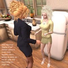 Sophie's Kitchen (venividisony) Tags: secondlife kitchen fridge blonde miniskirt suit