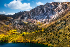 "Laurel Mountain and Fall colors at Convict Lake, Eastern Sierra (Keith ""Captain Photo"" Cuddeback) Tags: california captainphoto em1mkii landscapephotography topazstudioaiclear aspengrove convictlake drone easternsierra fallcolors laurelmountain luminar mavicair skylum topazaiclear mountain nature landscape outdoors wilderness scenery person noperson getolympusquadcopter"