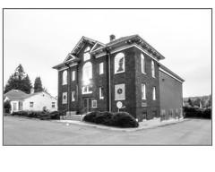 Delta Masonic Hall (NoJuan) Tags: tukwila seattle washingtonstate microfourthirds micro43 mirrorless m43 mft gx85 panasonicgx85 918mm olympus918mm bw blackwhite blackandwhite digitalbw masonichall deltamasonichall