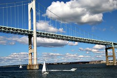 NEWPORT BRIDGE (MIKECNY) Tags: bridge span sailboat narragansettbay water newportbridge claibornepell rhodeisland newport clouds summer