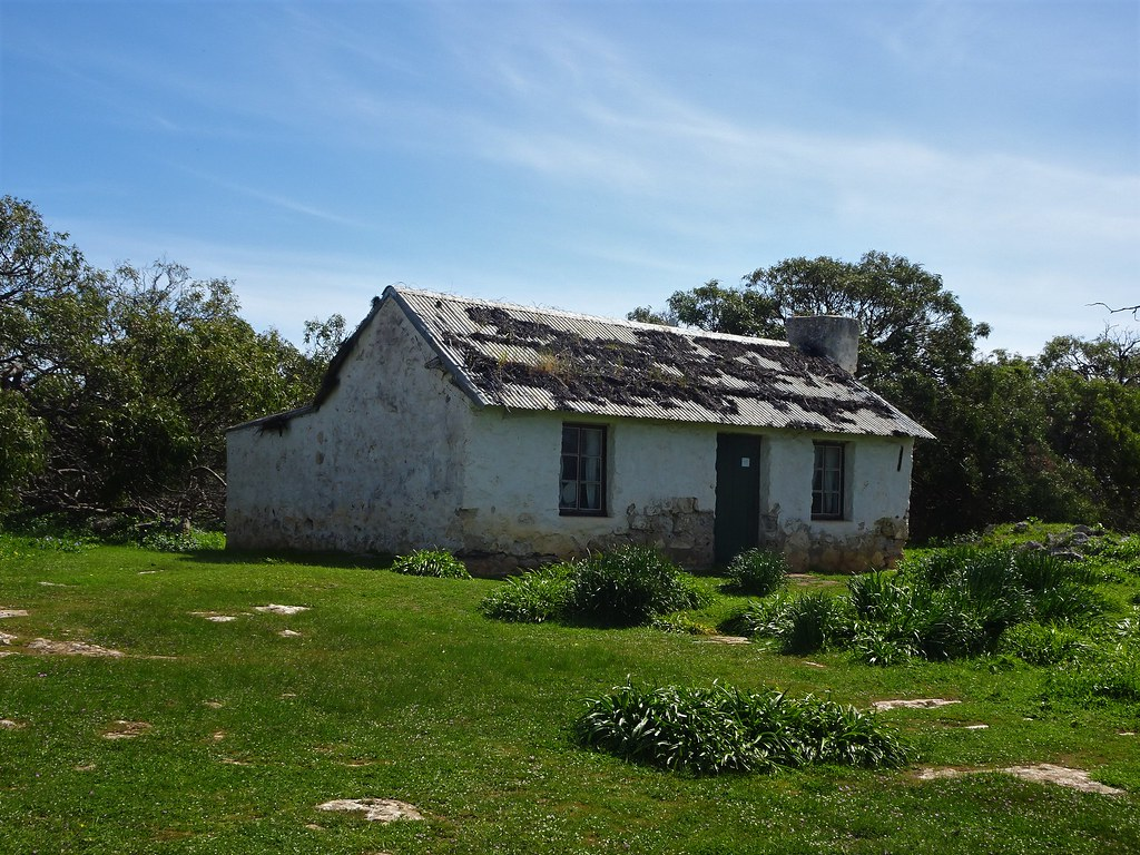 Port Lincoln Eyre Peninsula. The old Mikkira sheep station homestead dating from 1842.  It was once thatched over galvanised iron.
