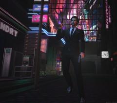 I'm the bad guy... (LeeNash Res.) Tags: secondlife guns beards outdoors urban suit dark black neon