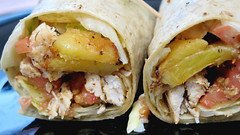 Island Chicken Wrap (Coyoty) Tags: cornercafe tunxiscommunitycollege farmington connecticut ct college cafe food jerk chicken wrap sandwich grilled pineapple avocado ranch dressing meat poultry yellow red beige brown tomatoes lettuce bokeh