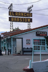 el rancho motel / route 66. barstow, ca. 1999. (eyetwist) Tags: eyetwistkevinballuff eyetwist elrancho barstow motel neon sign route66 mojavedesert california desert nikon n90s sigma 2470 f28 fuji velvia 50 rvp nikonn90s sigma2470f28exdg fujivelvia50rvp scansfromthearchives film emulsion analog analogue ishootfilm ishootfuji fujichrome circularpolarizer retro type typography typographic roadsideamerica american americana southwest roadtrip usa 35mm 1999 mojave office vacancy