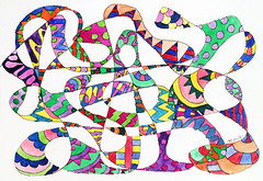 Watercolor Painting (Imara U.) Tags: watercolor watercolors colorful colors color colorido cores cor curves creation creative curvas circles contemporaryart graphic design pintura aquarela painting pattern patterns estampa art arte artista artist abstract caneta pen