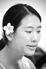 Weekend Visit 07 (ArdieBeaPhotography) Tags: woman women portrait frangipani flower bloom blossom delicate waxy petals pale yellow white tamronaf70300mmf456divcusdif