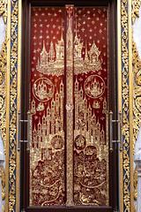 Mother of Pearl Inlay, Door, Phra Ubosot,  Wat Tri Thotsathep (imageofbangkok) Tags: architecture bangkok buddhisttemple godandangel motherofpearlinlay thaiarchitecture trailokya ubosot wattrithotsathep