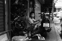 Decals (D. R. Hill Photography) Tags: bangkok thailand thai urban city street streetphotography blackandwhite monochrome motorbike bike decals mechanic environmentalportrait film analog analogue grain 135 35mmfilm contax contaxg1 g1 zeiss planar primelens fixedfocallength carlzeissplanar45mmf2 45mm jch jchstreetpan400 streetpan japancamerahunter