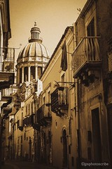 Sicilian streets (stewardsonjp1) Tags: houses italy streets church sepia cobbled historical sicily duomo ragusa sangiorgio architecture baroque