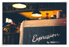Expresso (Edenimage) Tags: people film coffe mechine machine chrome indoors bar drink brown yelow letters vowel expresso