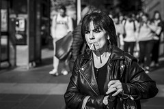 Relight Required (Leanne Boulton) Tags: urban street candid portrait portraiture streetphotography candidstreetphotography candidportrait streetportrait eyecontact candideyecontact streetlife old woman female lady face eyes expression emotion mood feeling eyeliner makeup hair style hairstyle fashion smoke smoker smoking cigarette rock leather tone texture detail depthoffield bokeh naturallight outdoor sunlight light shade shadow city scene human life living humanity society culture lifestyle people canon canon5dmkiii 70mm ef2470mmf28liiusm black white blackwhite bw mono blackandwhite monochrome glasgow scotland uk