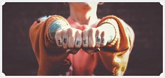 Lucky Me... (Edenimage) Tags: people film hands tattoo girl bokeh orange red colour fashion design city vowel letters outside vintage retro matte chocolate knuckles fist skin