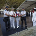 Rear Adm. Matthew A. Zirkle and Cmdr. Max Miller lay a wreath at the base of a statue of French navy Adm. Francois Joseph Paul de Grasse.