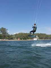 Kiteboarding looks awesome off Cherry Beach, Toronto