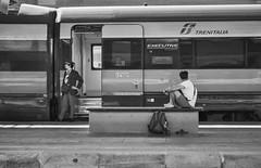2019-♈-229 (ruggeroranzani_RR) Tags: analog blackandwhite 35mm film rolleiretro80s kodakhc110 standdevelopment nikonfm2 nikkorhcauto118f85mm people railwaystation train waitingfor venice