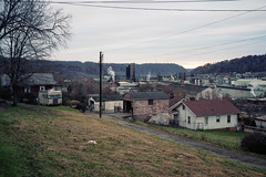 (patrickjoust) Tags: fujica gw690 kodak portra 160 6x9 medium format 120 rangefinder 90mm f35 fujinon lens manual focus analog mechanical patrick joust patrickjoust usa us united states north america estados unidos small town steel industry river valley west virginia wv weirton old house home camper van rv recreational vehicle parked alley view mountains hills trees evening thanksgiving day steam smoke