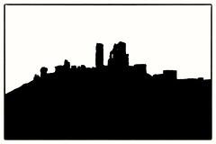 Corfe Castle in Silhouette (Andy J Newman) Tags: dawn monochrome silhouette bandw blackandwhite corfe corfecastle d810 dorset nikon wareham england unitedkingdom