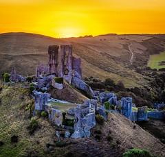 Golden Hour at Corfe Castle (Andy J Newman) Tags: color dawn sunrise castle colorefex colour corfe corfecastle d810 dorset nikon sun wareham england unitedkingdom