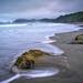 Long exposure of waves hitting rocks  on fog enshrouded Rialto Beach, Olympic National Park, Washington State