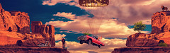 VISIONS BY JEAN-TOUSSAINT TOSI (jean-toussainttosi) Tags: bestcar bestpicture bestcomposite beamsrocktrip bestphotomontage bigsky oldman harleydavidson moto jeantoussainttosi