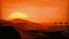Egypt - Desert - Three dromedaries (Jacques Rollet (Little Available)) Tags: egypt desert sunset couchant désert sky ciel sun soleil groupenuagesetciel fabuleuse