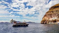Santorini (hoangan.anle) Tags: boat sea landscape santorini greece sunset samsung phone gear