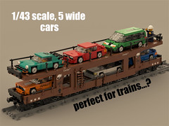 car transport (ron_dayes) Tags: lego train car transport minifig scale 1 47 5 wide