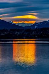 Sunrise reflection on the lake (FVillalpando) Tags: sunrise reflectionlakewatermountainssnowlightclouds ngysa nature