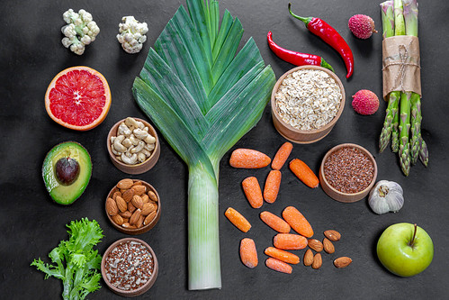 Different fresh products for healthy food. Vegetarianism and raw food concept