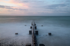 Smooth Breakers (Geoffrey Tibbenham) Tags: groynes seaside seascape sunset water coast north norfolk overstrand longexposure openspace overcast outdoors sea structure wood fujifilm xt2 sky 1855mm kitlens