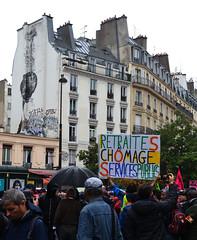 """Manifestation à Paris contre la """"réforme"""" des retraites (Jeanne Menjoulet) Tags: demonstration paris pension reform manifestation réforme retraites chômage servicespublics bonom"""