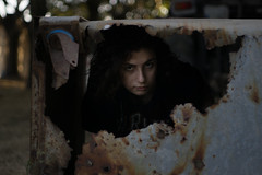Framing accordingly (efeardic) Tags: sony alpha 6000 portrait girl woman trash can rusty