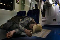 Man in train (efeardic) Tags: guy sleeping suburban train izmir sony 6000 izban alpha