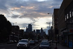 2019-08-04: Shadwell Sundown (psyxjaw) Tags: london londonist shadwell commercialroad evening sunset road cars flats