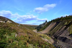 Ore processing features below Sharnberry Mine (LMW76) Tags: sharnberry mine lead zinc low level mining ore processing mill bedburn beck valley waste spoil tip tailings mound stream water sky moor heather