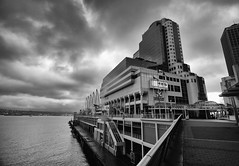 Canada Place in Vancouver, Canada (` Toshio ') Tags: toshio vancouver britishcolumbia canadaplace canada blackandwhite bw clouds victoriaharbor architecture hotel conventioncenter pier fujixt2 xt2