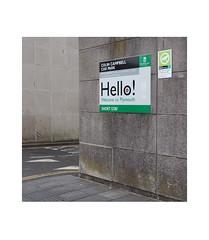 Hello! (chrisinplymouth) Tags: sign wall corner hello carpark colincampbellcourt plymouth devon england uk city insquare square cw69sq cw69x trait xg diagx diagonal urb camminante