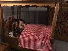"""BaD """"Sleepytime"""" Sept 24, 2019 (Foxy Belle) Tags: doll blythe petite dollhouse bed sleep sleepytime bad day september 24 2019 german folk red floral stencil wardrobe cottage cabinet peasant bedding gingham canopy top cover"""