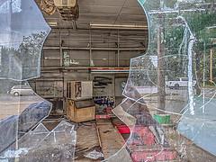 Abandoned Gas Station 03 (jolynne_martinez) Tags: kansascity broken glass unitedstates missouri reflection building cars abandoned window decay garage neglected gasstation reflected decayed decaying dilapidated googlepixel