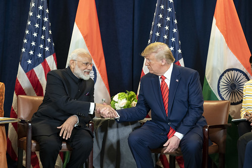 Indian Prime Minister Narendra Modi and President Donald Trump. Despite cordial appearances, the trade war between India and the U.S. continues.