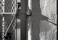 A spring and its shadow (queue_queue) Tags: spring shadow stripes texture wall gate door blackandwhite monochrome industar industar22 soviet vintagelens a7