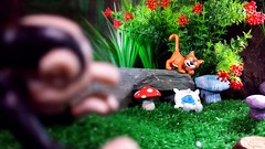 """Azrael, you found one."" (custombase) Tags: schleich thesmurfs figures lazy azrael gargamel forest toyphotography"
